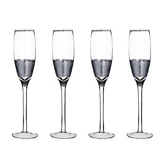 Premier Housewares Apollo Set of 4 Champagne Glasses, Silver