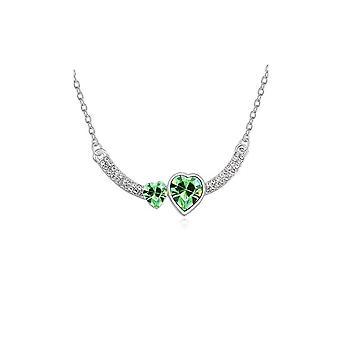 Womens dubbel hart Love groene tegenhanger van het kristal ketting