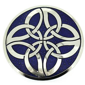 Broscher butik runda blå emalj & Silver keltiska knutar cirklar brosch
