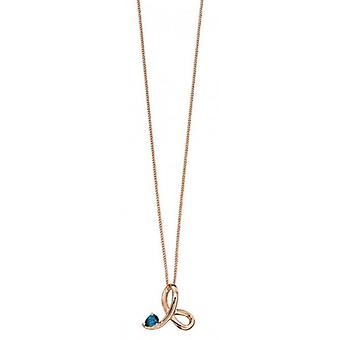 Elements Gold Topaz Twisted Profile Pendant - Rose Gold/Blue