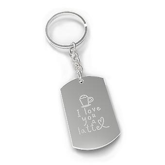 Love A Latte Strong Durable Nickel Gift Novelty Key Chain Engraved For Coffee Lovers