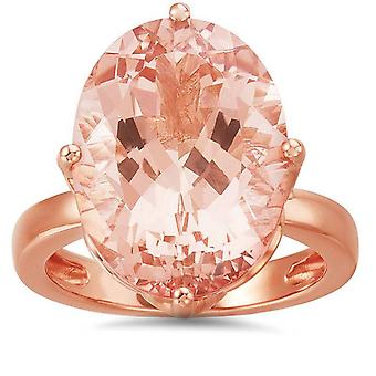 12 1/8ct Large Oval Morganite Vintage Style Ring 14K Rose Gold