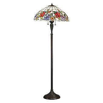 Interiors 1900 64028 Country Border 2 Light Tiffany Floor Lamp With A