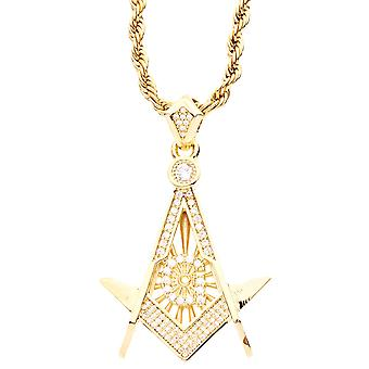 Iced out bling micro pave pendants - Masonic gold