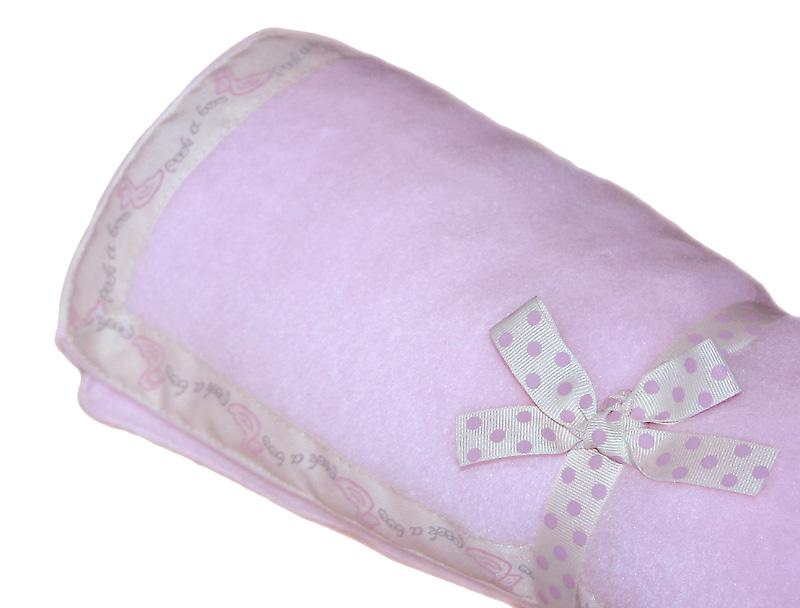 Pastel Pink Baby Fleece with Duck Edging Ribbon