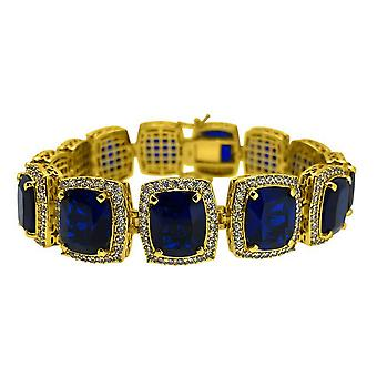 Iced out bling ROYAL CZ bracelet - gold / sapphire