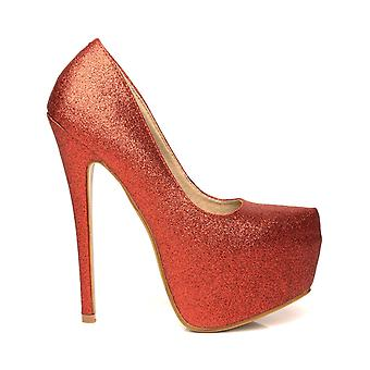 DONNA Red brillo Stilleto tacones muy altos zapatos de plataforma de corte