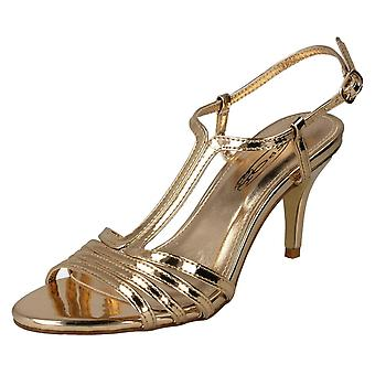 Ladies Spot On Metallic Strappy Sandals F10841 - Rose Gold Metallic Foil - UK Size 8 - EU Size 41 - US Size 10