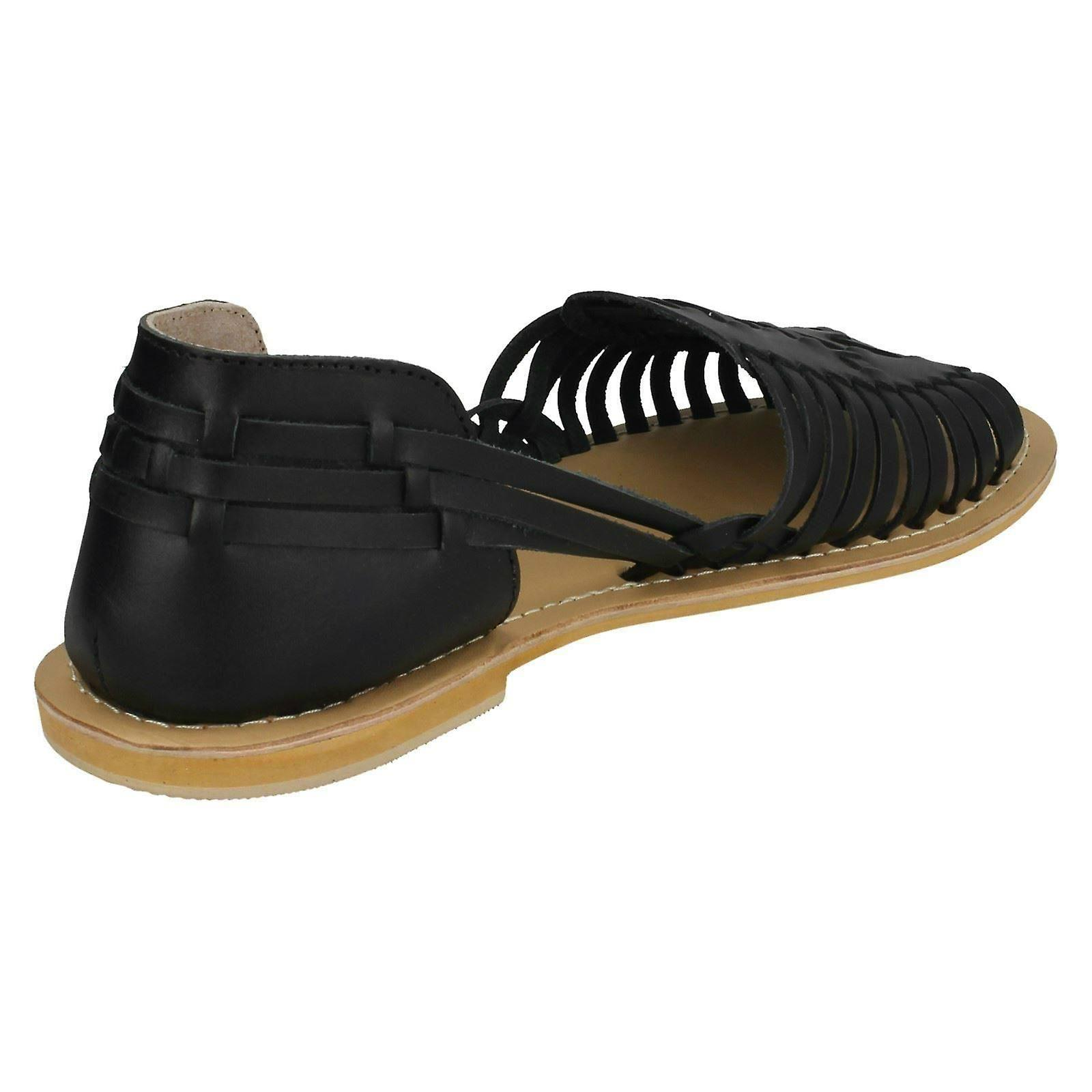 Collection US 8 Black F00145 Leather 39 Weave Ladies Size 6 Size Leather Size Flat EU UK Sandals wxB5Tx6qnC
