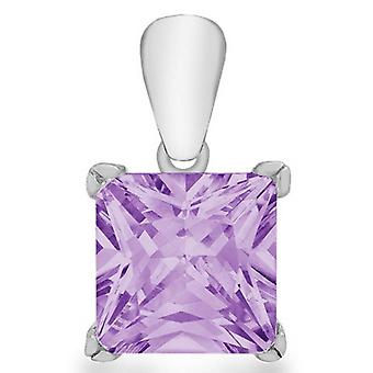 IBB London Princess Cut Cubic Zirconia Pendant - Silver/Purple