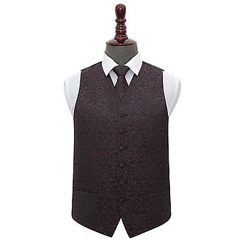 Black & Purple Swirl Wedding Waistcoat & Tie Set