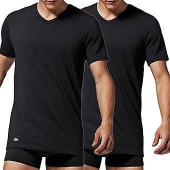 Lacoste Cotton Stretch 2-Pack V-Neck T-Shirt, Black, X-Large