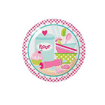 SALE - 8 Cupcake Bakery Large Paper Party Plates | Disposable Paper Party Plates