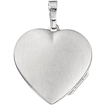 Heart Medallion Locket heart 925 sterling silver rhodium plated with mother of Pearl Heart pendant silver