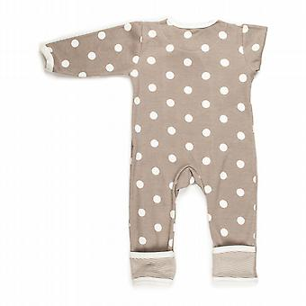 Spotty taupe baby grow