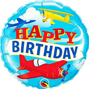 Qualatex 18in Birthday Airplanes Foil Balloon