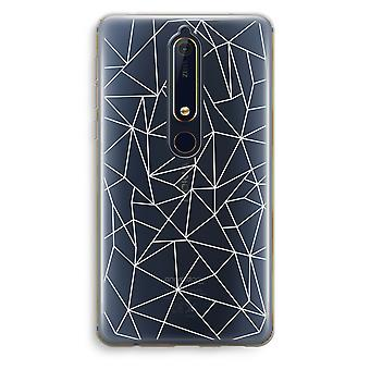 Nokia 6 (2018) Transparent Case (Soft) - Geometric lines white