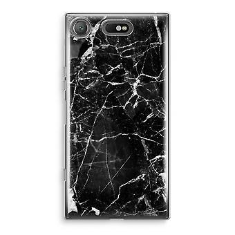 Sony Xperia XZ1 compacto caso Transparant (suave) - mármol negro 2