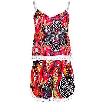 Ladies Bobble Trim Animal Aztec Print Women's Shorts Cami Crop Top Vest Set