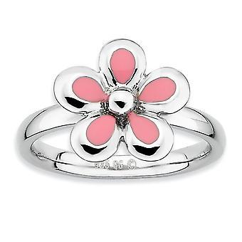 Sterling sølv Rhodium-belagt stabelbare udtryk poleret Pink emaljeret blomst Ring - ringstørrelse: 5-10