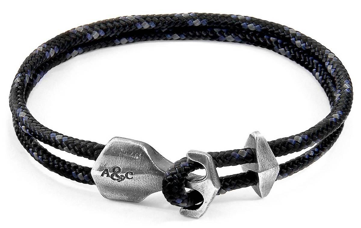 Anchor and Crew Delta Silver and Rope Bracelet - Black