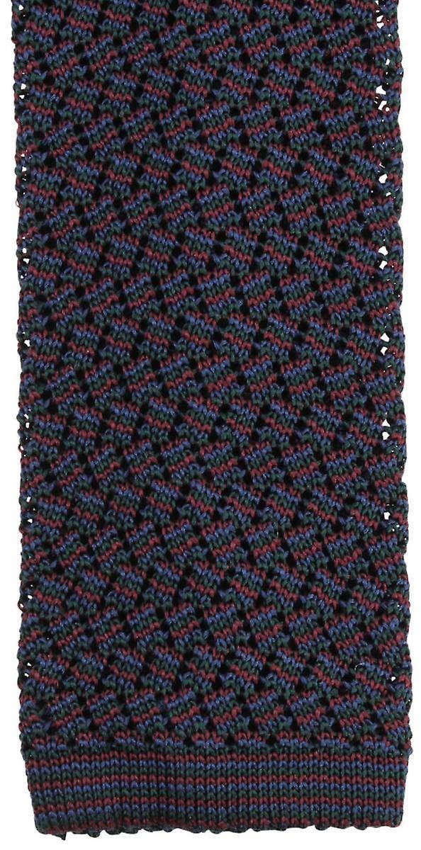 KJ Beckett Suzy Chevron Silk cravate - Wine vert Navy