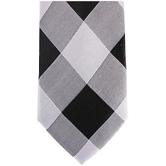 Knightsbridge Neckwear Diamond Silk Skinny Tie - Silver/Black
