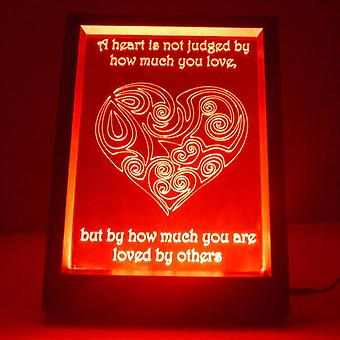 Judged Heart & Quote Colour Changing RC LED Mirror Light Frame