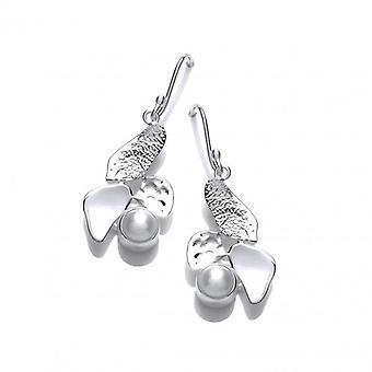 Cavendish Französisch silberne Blätter und Perlen Ohrringe