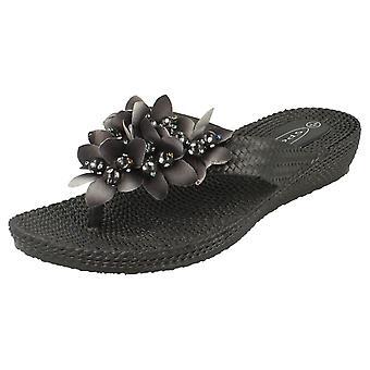Wsuwane buty damskie klin niskie sandały z kwiat szczegóły