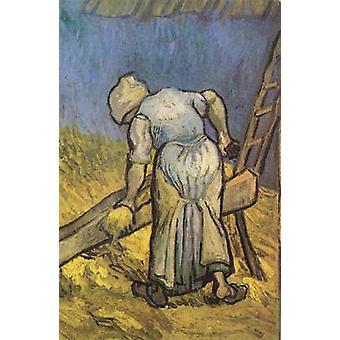 Peasant Woman Cutting Straw, Vincent Van Gogh, 40.5 x 26.5 cm