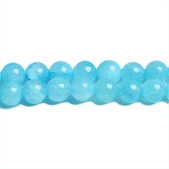 Packet 8 x Blue Mashan Jade 8mm Plain Round Beads VP3055
