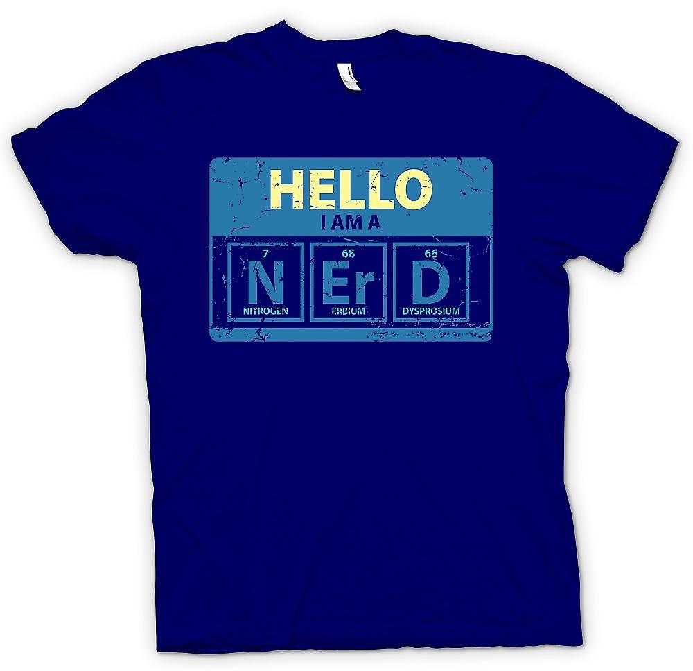 Mens T-shirt - Bonjour je suis un Nerd - tableau périodique