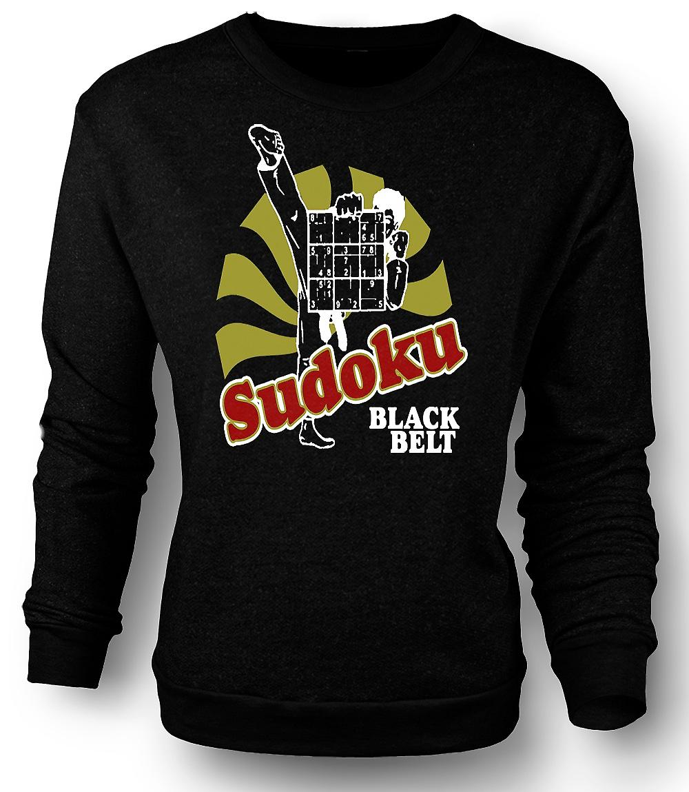 Mens Sweatshirt Sudoku svart belte Karate - Funny