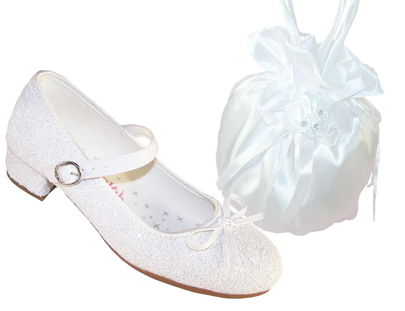 Girls bianca sparkly special occasion heeled scarpe and satin bag | Portare-resistendo  | Scolaro/Signora Scarpa