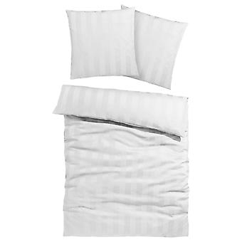 My home bed linen Polly with elegant stripes white 135/200 cm 1 pillow 80/80 cm