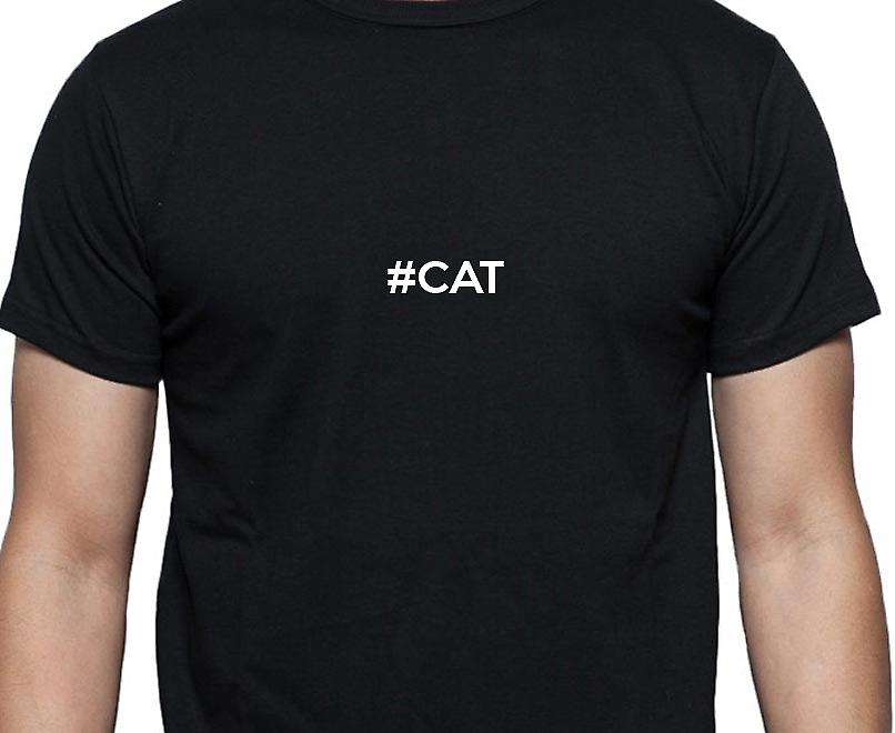 #Cat Hashag Cat Black Hand Printed T shirt