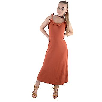 LMS Cotton Maxi Dress In Copper With Neck Line Frill Detail