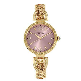 Bertha Sarah Chain-Link Watch w/Hanging Charm - Gold/Mauve