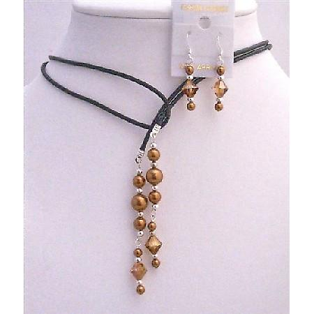 Copper Dress Leather Lariat Copper Pearls Crystals Necklace & Earrings