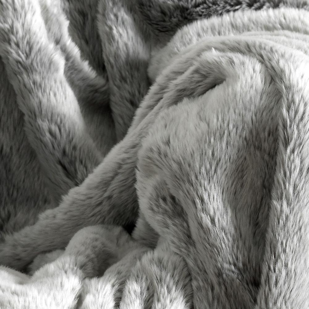 Icon® Luxury Faux Fur Throw - Arctic Wolf Grey, 200cm x 150cm - Extra Large Blanket