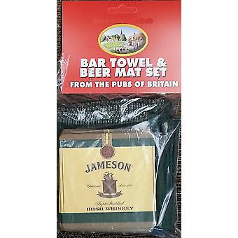 Jameson Irish Whisky bomull Bar handduk och 10 Beermats (pp)