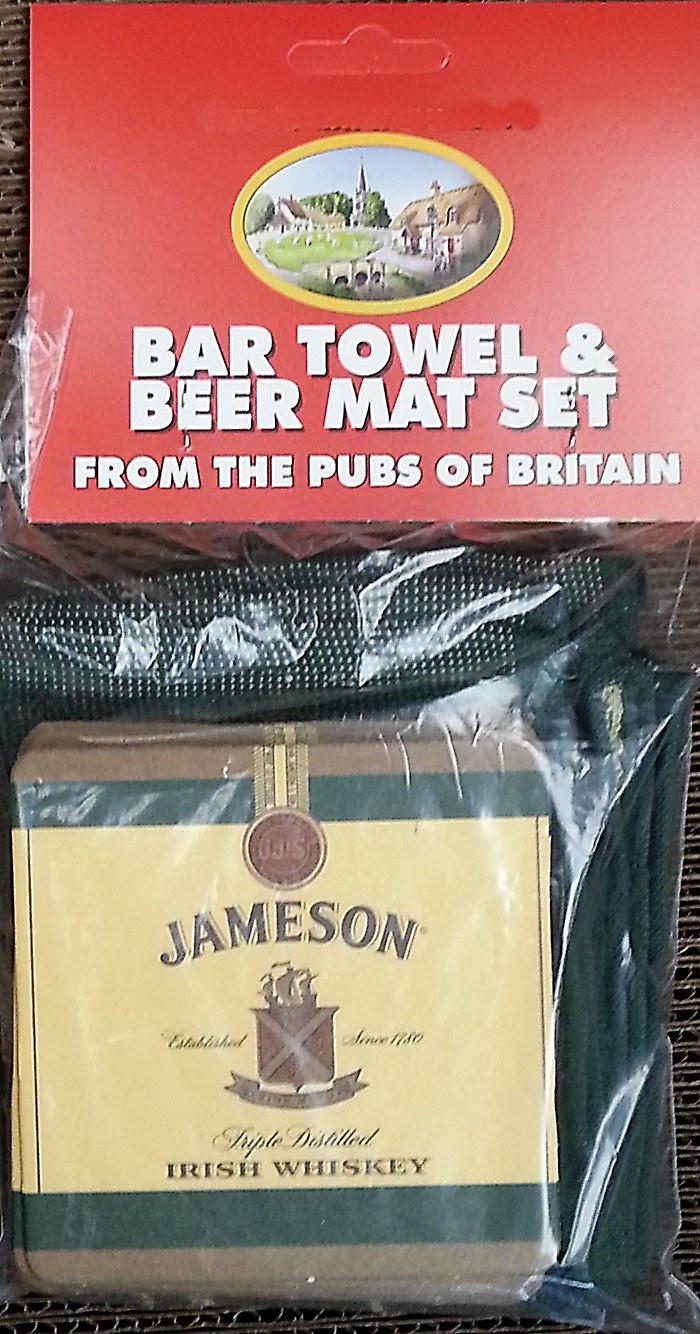 Jameson Irish Whisky Cotton Bar Towel and 10 Beermats (pp)