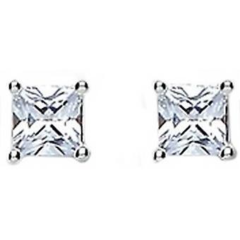 Bella Claw Cubic Zirconia Stud Earrings - Silver/White