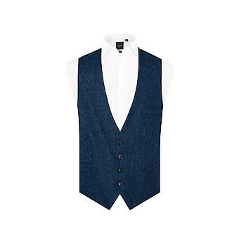 Harris Tweed Mens Blue and Black Herringbone Tweed Waistcoat Regular Fit 100% Wool Low Cut