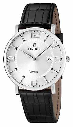 Festina Mens Stainless Steel Black Leather Strap F16476/3 Watch