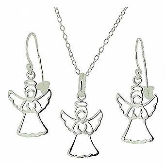 TOC Sterling Silver Guardian Angel Earrings & Pendant Necklace 18