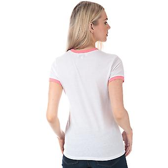 Womens Brave Soul Campervan T-Shirt In White / Coral