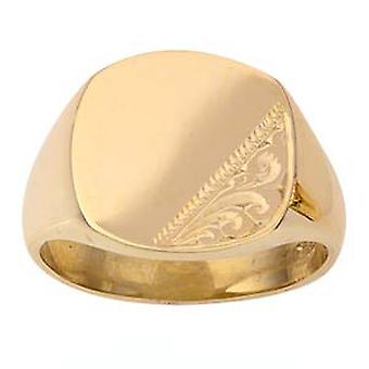 9ct Gold 12x11mm hand engraved cushion gents Signet Ring Size R