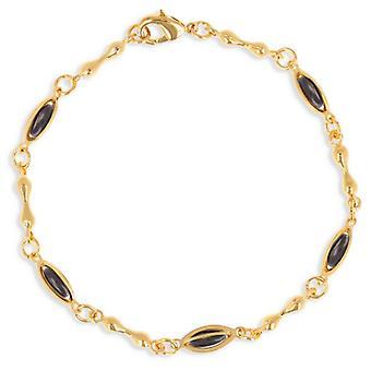Guldpläterat halsband med oliv svart emalj 45cm